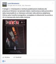 post pagina facebook Bavassano su libro Simenon Torre di Babele